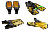 Set of yellow swim fins, mask, snorkel for diving with water dro — Stock Photo