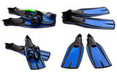 Set of blue swim fins, mask and snorkel for diving — Stock Photo