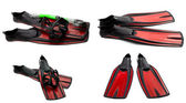 Set of red swim fins, mask and snorkel for diving — Stock Photo