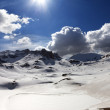 Plateau and lake covered snow — Stock Photo