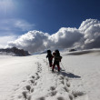 Two hikers on snowy plateau — Stock Photo #46767305