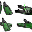 Set of green swim fins, mask and snorkel for diving — Stock Photo #47901389