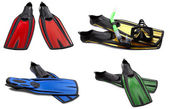Set of multicolored swim fins, mask and snorkel for diving — Stock Photo