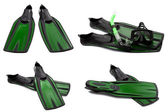 Set of green swim fins, mask and snorkel for diving — Stock Photo