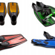 Set of multicolored swim fins, mask, snorkel for diving with wat — Stock Photo #48689685