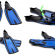 Set of blue swim fins, mask and snorkel for diving — Stock Photo #48689689