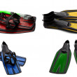 Set of multicolored swim fins, mask and snorkel for diving — Stock Photo #48689695