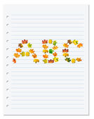 Notebook paper with letters A B C composed of autumn maple leafs — Stock Photo