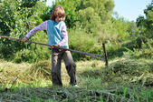 Child working with a rake — Stok fotoğraf