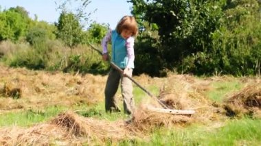 Child working with a rake in the field — Vídeo de stock