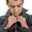 Teenager boy dressing up — Stock Photo