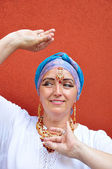 Woman with Indian necklace, tikka and earrings — Stock Photo