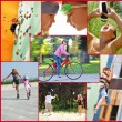 Photo collage of active people doing sports activities — Foto de Stock