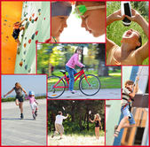 Photo collage of active people doing sports activities — Stock Photo