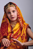 Little girl in traditional Indian clothing and jeweleries — Stock Photo