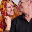 Senior man and woman in traditional Indian clothing — Stock Photo