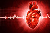 ECG abstract backgrounds with human 3D rendered heart — Stock Photo