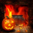 Royalty-Free Stock Photo: Halloween abstract backgrounds witn pumpkin and fireplace