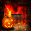 Halloween abstract backgrounds witn pumpkin and fireplace — Stock Photo