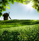 Windmill. Abstract rural landscape for your design — Stock Photo