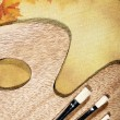 Autumnal abstract still life over canvas background — Stock Photo