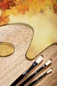 秋季抽象静物在画布背景 — 图库照片