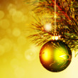 Xmas decoration ball over abstract golden backgrounds with beaut - Stock Photo