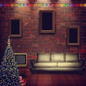 Abstract interior with xmas decoration for your design — Stock Photo