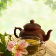 Tea ceremony. Green tea, flower and teapot — Stock Photo #19774003
