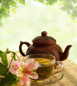 Tea ceremony. Green tea, flower and teapot — Stock Photo