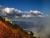 Montagne fumose. paesaggio naturale, fonte di pellicola scannerizzata — Foto Stock