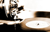 Lithprint of vintage phonograph with shallow depth of field — Stock Photo