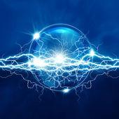 Magische kristallen bol met elektrische verlichting, abstracte achtergrond — Stockfoto
