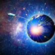Space transportation and technologies in the future, abstract ba — Stock Photo