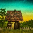 Stock Photo: Fancy pastoral landscape with vintage cardboard added texture