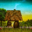 Stockfoto: Grungy fantasy landscape with vintage cardboard texture added