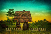 Fancy pastoral landscape with vintage cardboard added texture — Stock Photo