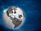 グローバルな情報ネットワーク、抽象的なテクノ背景 — ストック写真