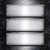Brushed steel plate over galvanized metall background for your d — Stock Photo