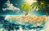 Beauty Ocean. Retro styled post card with vintage paper texture. — Stock Photo