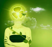 Green energy and eco protection concept. Female abstract portrai — Stock Photo