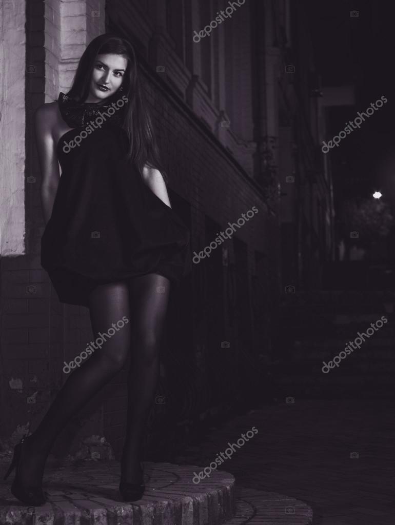 Night City Life Female Fashion Portrait Stock Photo