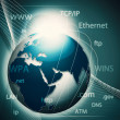 Global information network, abstract techno backgrounds — Stock Photo