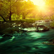 Sunset on the mountain river, environmental backgrounds — Stock Photo