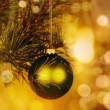 Christmas background with baubles and beauty bokeh — Stock Photo