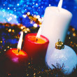 Christmas backgrounds with candles and garland for your design — Stock Photo