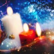 Christmas backgrounds with candles and garland for your design — Stock Photo #36352993