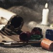 Grungy Art still life with paint and brushes — Stock Photo