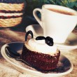 Coffee cup and tasty cake — Stock Photo