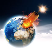 Earth globe with burning TNT block — Stock Photo